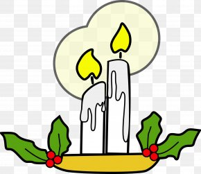Two White Candles - Light Candle Clip Art PNG