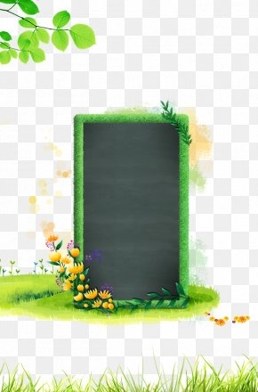Small Green Chalkboard With Flowers - Student Blackboard Learn PNG