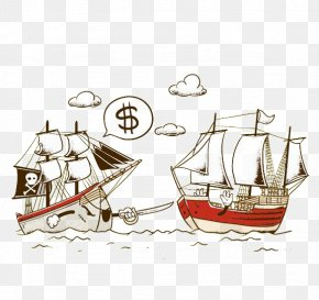 Hand-painted Pirate Ship - T-shirt Drawing Piracy Illustrator Illustration PNG