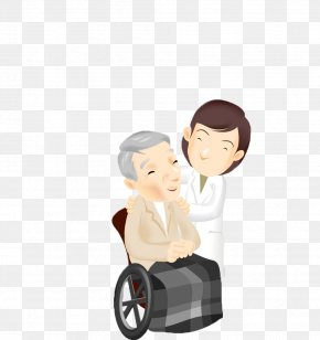 A Grandfather On A Wheelchair - Old Age Earwax Disease PNG