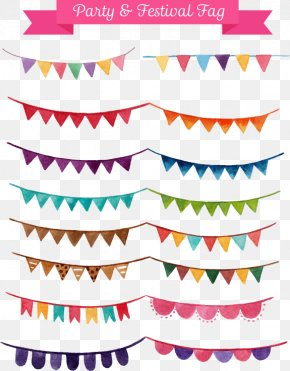Small Party Flags - Watercolor Painting Party Illustration PNG