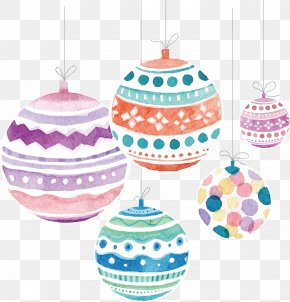 Watercolor Christmas Ball - Santa Claus Pillow Gift Christmas Ornament PNG