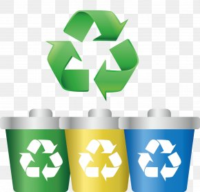 Vector Painted Green Recycle Trash Can Icon - Paper Recycling Symbol Label Clip Art PNG