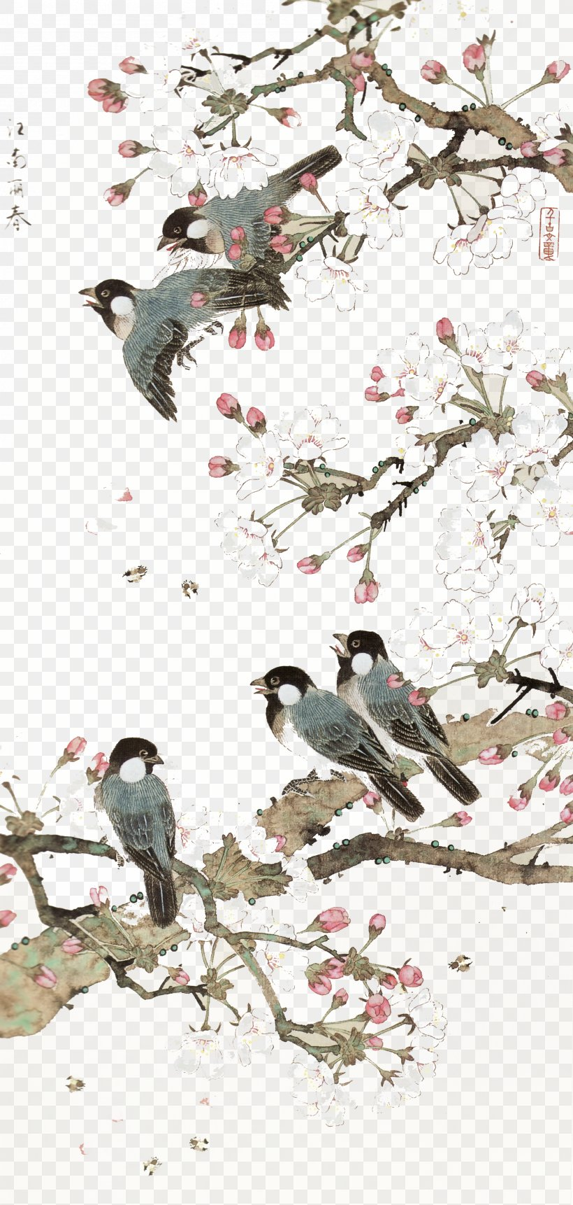 China Bird-and-flower Painting Chinese Art Chinese Painting, PNG, 3333x7002px, China, Bird, Bird And Flower Painting, Bird Feeding, Bird Flight Download Free