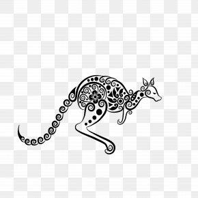 Kangaroo Paper-cut Pattern - Kangaroo Tattoo Ornament Clip Art PNG