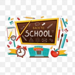 Vector Blackboard And School Supplies - Student School Clip Art PNG