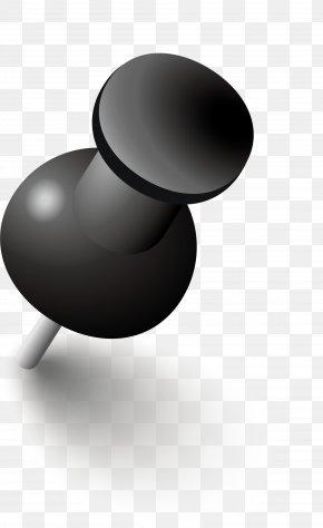 Black Simplified Drawing Pin - Paper Drawing Pin PNG