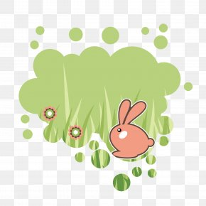 Vector Green Cartoon Bunny Background Decorative - Easter Bunny Rabbit Hare Clip Art PNG