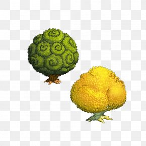 Two Trees Green Yellow Free To Pull The Material - Tree Green Yellow PNG