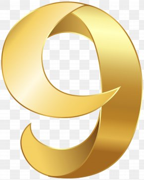 Golden Number Nine Transparent Clip Art Image - Number Clip Art PNG