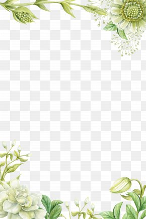 Green Hand-painted Flower Borders - Painting Flower PNG