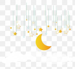 Star Moon Decoration - Yellow Pattern PNG