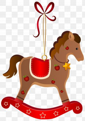 Rocking Horse Christmas Ornament Transparent Clip Art Image - Rocking Horse Santa Claus Christmas Clip Art PNG