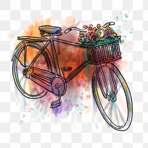 Vector Rainbow Bike - Wedding Invitation Postcard Bicycle Birthday Greeting Card PNG