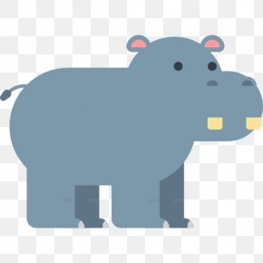 Cartoon Hippo - Animal Icon PNG