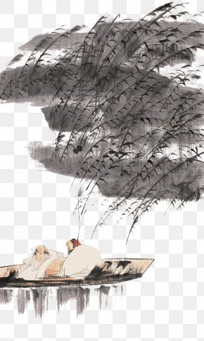 Boat In The Reed In The Chinese Ink Painting - Reed Marshes Ink Wash Painting Chinese Painting PNG