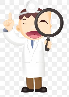 Cartoon Doctor Holding A Magnifying Glass - Magnifying Glass Physician PNG