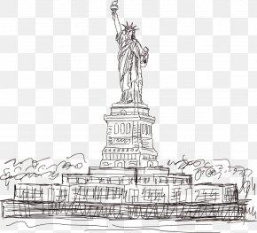 American Statue Of Liberty Vector Artwork - Statue Of Liberty Eiffel Tower Landmark PNG