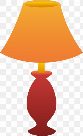 Orange Table Cliparts - Nightstand Table Lampshade Clip Art PNG