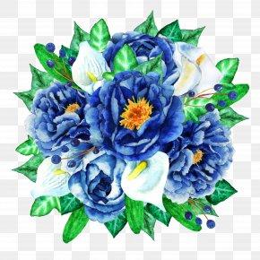 Blue Flower Bouquet - Watercolour Flowers Flower Bouquet Clip Art PNG