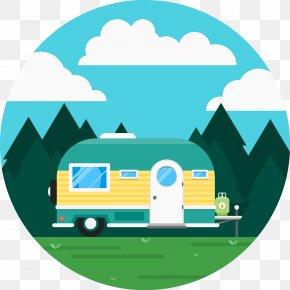 Cute RV Camping Vector - Caravan Recreational Vehicle Camping Icon PNG