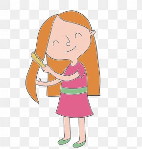 Brush - Drawing Of Someone Brushing Their Hair , Free Transparent Clipart -  ClipartKey