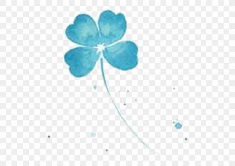 Blue Four-leaf Clover Wallpaper, PNG