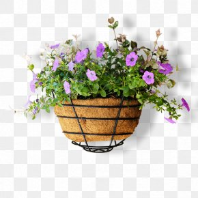 Full Of Small Purple Flower Pot - Flowerpot Computer File PNG
