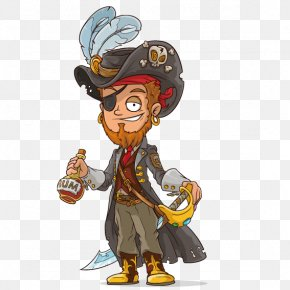 Pirate With Machete - Cartoon Piracy Illustration PNG