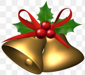Large Christmas Bells With Holly Clip Art Image - Common Holly Living Word United Methodist Church Christmas Clip Art PNG