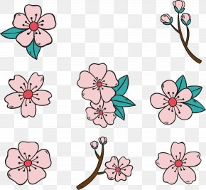 Pink Cherry Blossom - National Cherry Blossom Festival Watercolor Painting PNG