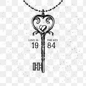 Key Necklace - Key Valentines Day Heart Illustration PNG