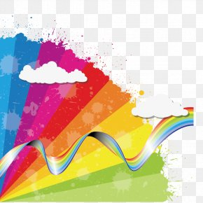 Creative Colorful Ribbons Floating - Rainbow Euclidean Vector Cloud Icon PNG