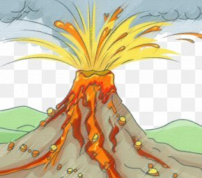 Crayon Style Volcano Eruption - Volcano Volcanic Ash Xc9ruption Volcanique Drawing Lava PNG