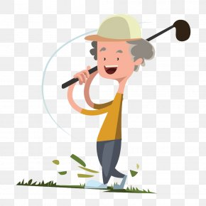 Golfing Grandfather - Cartoon Golf Royalty-free Illustration PNG