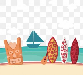 Vector Hand-painted Surfboard Stuck In The Sand - Hawaiian Beach PNG