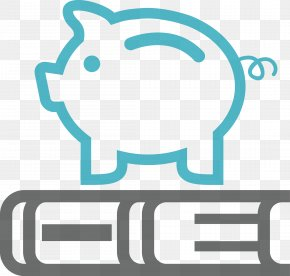 Blue Piggy Bank - Saving Retirement Funds Administrators Pension Icon PNG