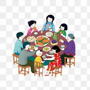 Family Reunion Dinner Dinner - Reunion Dinner Mid-Autumn Festival Chinese New Year Family Illustration PNG