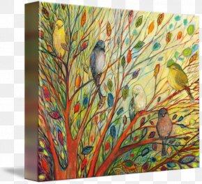 RAINBOW TREE - A Rainbow Tree Feather Gallery Wrap Canvas Modern Art PNG