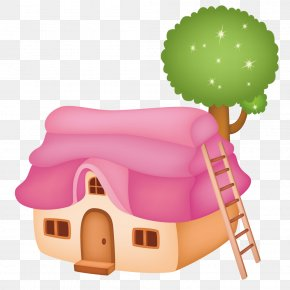 Small House With A Ladder - Child Cartoon Kite Illustration PNG