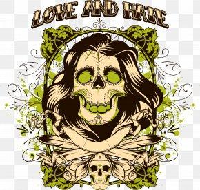 Long Skull Print - T-shirt Skull Royalty-free Stock Illustration PNG