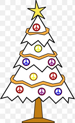 Christmas Tree Line Drawing - Christmas Tree Black And White Clip Art PNG