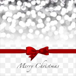 Christmas Card Element - Christmas Decoration Red Ribbon Gift PNG