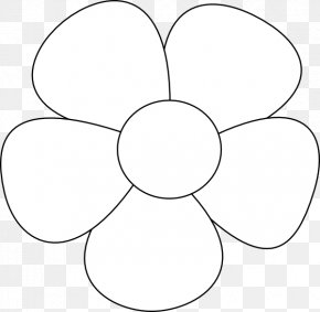 Simple Flower Cliparts - Circle Symmetry Black And White Angle Pattern PNG