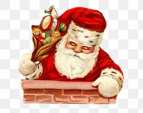 Santa Claus Climbing The Chimney - Ded Moroz Santa Claus Christmas New Year PNG