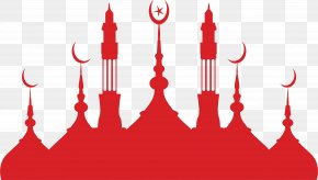 Red Islamic Church - Mosque Silhouette Islamic Architecture PNG