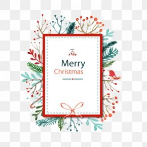 Christmas Decorative Border Pattern Background Vector - Christmas Card Watercolor Painting PNG