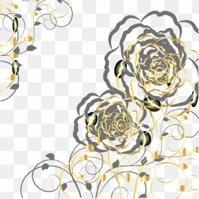 Vector Gold Pattern - Euclidean Vector Gold Flower PNG