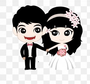 Vector Bride And Groom - Couple Marriage Cartoon PNG