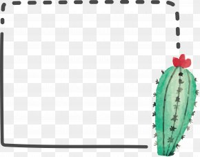 Watercolor Cactus Border - Cactaceae Watercolor Painting Computer File PNG